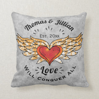 Tattooed Winged Heart Add Names and Date Throw Pillow