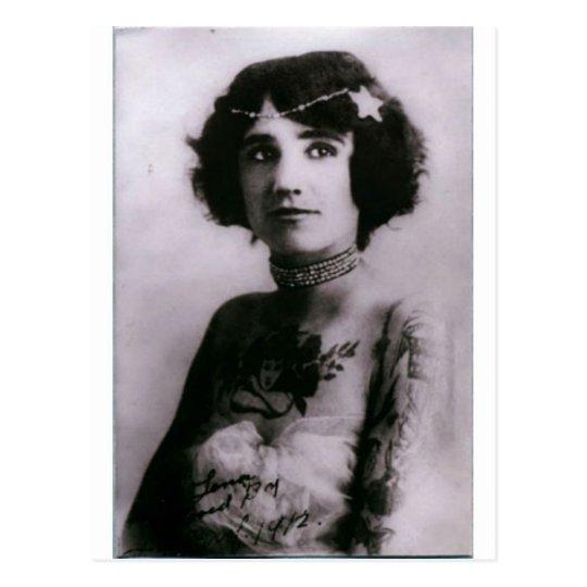 Tattooed woman - 1912 postcard