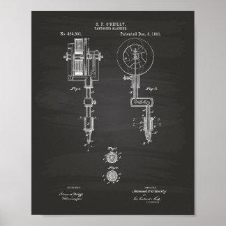 Tattooing Machine 1891 Patent Art Chalkboard Poster