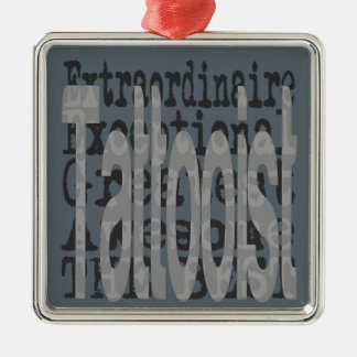Tattooist Extraordinaire Silver-Colored Square Ornament