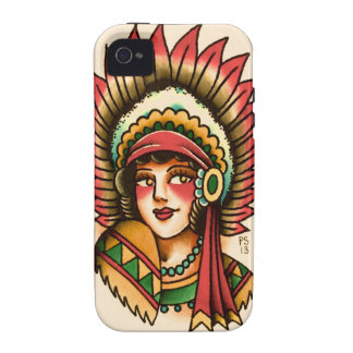 Tattoopaulski Indian Maiden Vibe iPhone 4 Covers