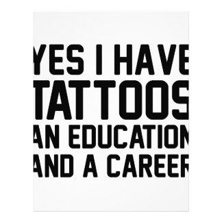 Tattoos Education & a Career Letterhead