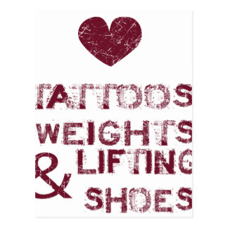 tattoos weights shoes female postcard
