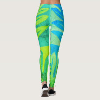Tauati Fern of Aqua and Lime Leggings