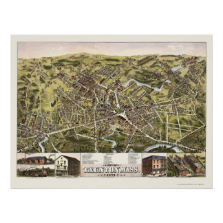 Taunton, MA Panoramic Map - 1875 Poster