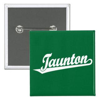 Taunton script logo in white pin