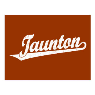 Taunton script logo in white distressed postcard