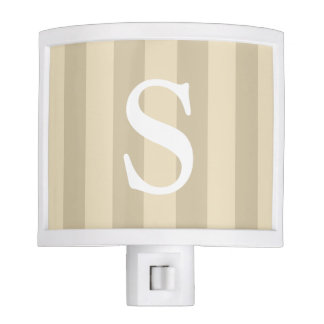 Taupe And Beige Striped White Monogram Night Light