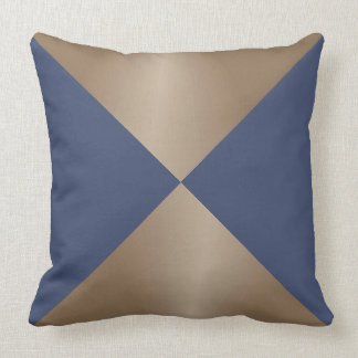 Taupe and Blue Triangle Modern Print Throw Pillow