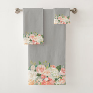 Taupe and Peach Watercolor Floral Pattern Bath Towel Set