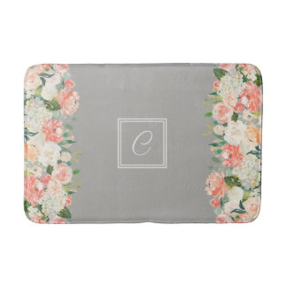 Taupe and Peach Watercolor Floral with Monogram Bath Mat
