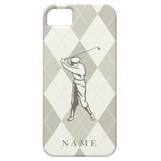 Taupe Argyle Pattern, Personalized Golf iPhone 5 Covers