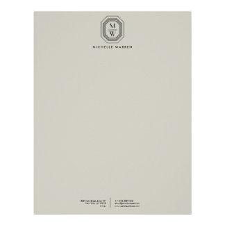 Taupe/Black Art Deco Monogram Letterhead