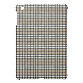 Taupe/Black Plaid Pern Cover For The iPad Mini