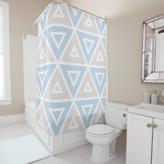 Taupe Blue Triangle Geometric Pattern
