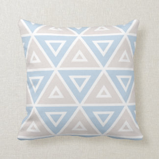 Taupe Blue Triangle Geometric Pattern Pillows