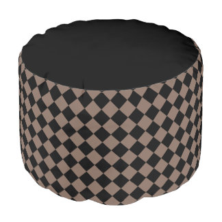 Taupe Brown and Black Diamond Checkered Pouf