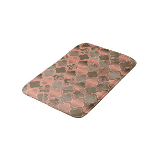 Taupe Brown and Peach Quatrefoil Bath Mat