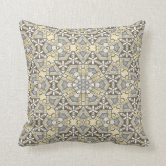 Taupe Brown Gray Beige Mosaic Kaleidoscope Pattern Throw Pillow