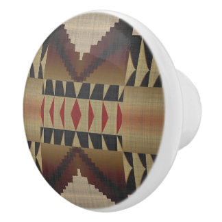 Taupe Brown Red Black Eclectic Ethnic Look Ceramic Knob