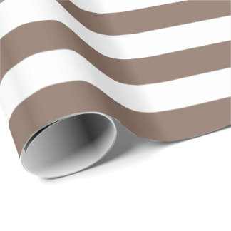 Taupe Brown/White Stripe Wrapping Paper