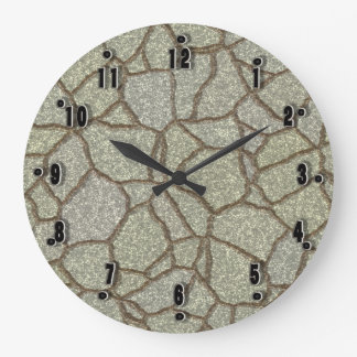 Taupe Cement by Julie Everhart Large Clock