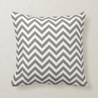 Taupe color chevron zig zag pattern throw pillow