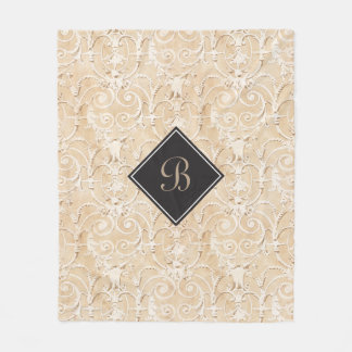 Taupe Damask Monogram Fleece Blanket