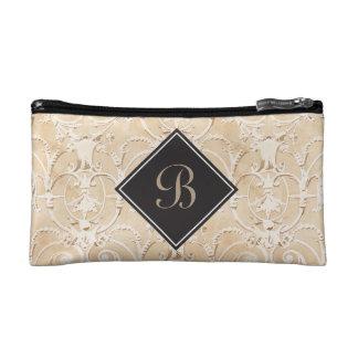 Taupe Damask Monogram Makeup Bag