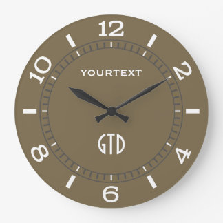 Taupe Decor Dial Easily Personalized Large Clock