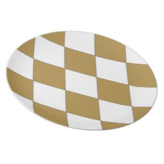 Taupe-Diamond-Harlequin-Stylish-Everyday Dinner Plates