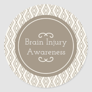 Taupe Diamond Pattern Brain Injury Awareness Classic Round Sticker
