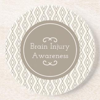 Taupe Diamond Pattern Brain Injury Awareness Coaster