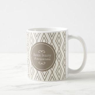 Taupe Diamond Pattern Brain Injury Awareness Coffee Mug