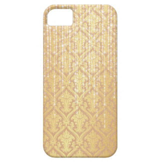 Taupe Gold Damask White Pearl Strands Sparkle iPhone 5 Cases