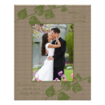 Taupe Green Leaves Template Photographic Print