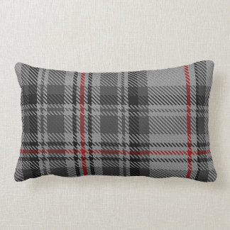 Taupe Grey Black Red Giant Tartan Plaid Lumbar Pillow