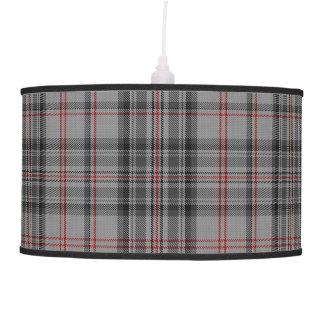 Taupe Grey Red Black Large Tartan Plaid Pendant Lamp