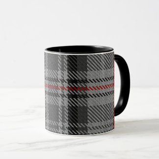 Taupe Grey Red Black Massive Tartan Plaid Mug