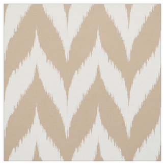 Taupe Ikat Chevron Pattern Fabric