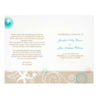 Taupe Ivory Teal Beach Wedding Programs (BiFold)