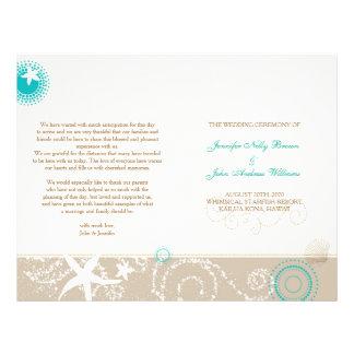 Taupe Ivory Teal Beach Wedding Programs (BiFold) Custom Flyer