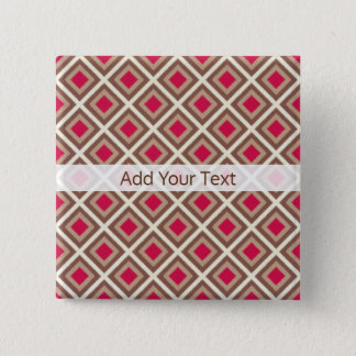 Taupe, Light Taupe, Hot Pink Ikat Diamonds STaylor 2 Inch Square Button
