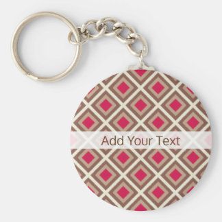 Taupe, Light Taupe, Hot Pink Ikat Diamonds STaylor Basic Round Button Keychain