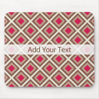 Taupe, Light Taupe, Hot Pink Ikat Diamonds STaylor Mouse Pad