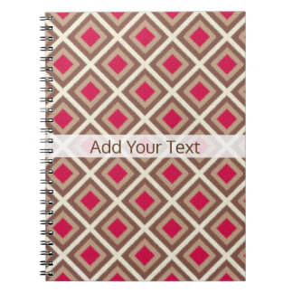 Taupe, Light Taupe, Hot Pink Ikat Diamonds STaylor Notebook