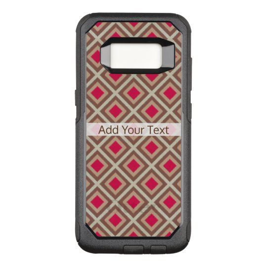 Taupe, Light Taupe, Hot Pink Ikat Diamonds STaylor OtterBox Commuter Samsung Galaxy S8 Case
