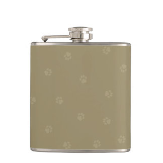 Taupe-on-Taupe Pawprint Hip Flask