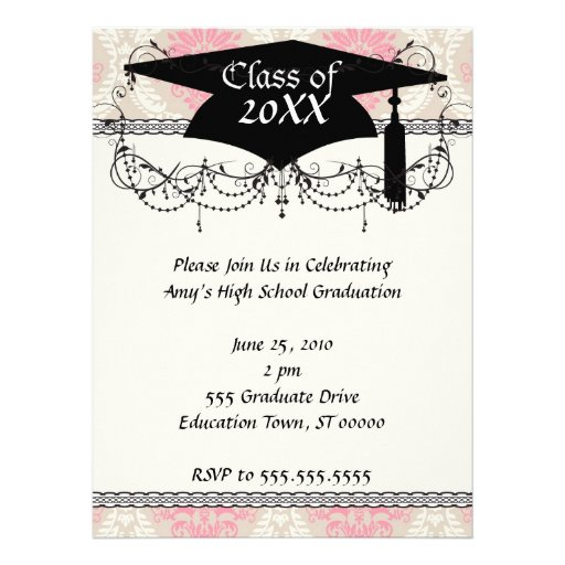taupe pink and ivory damask design graduation announcement