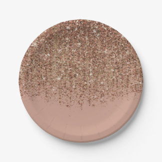 Taupe Pink & Bronze Gold Glitter Glam Party Paper Plate